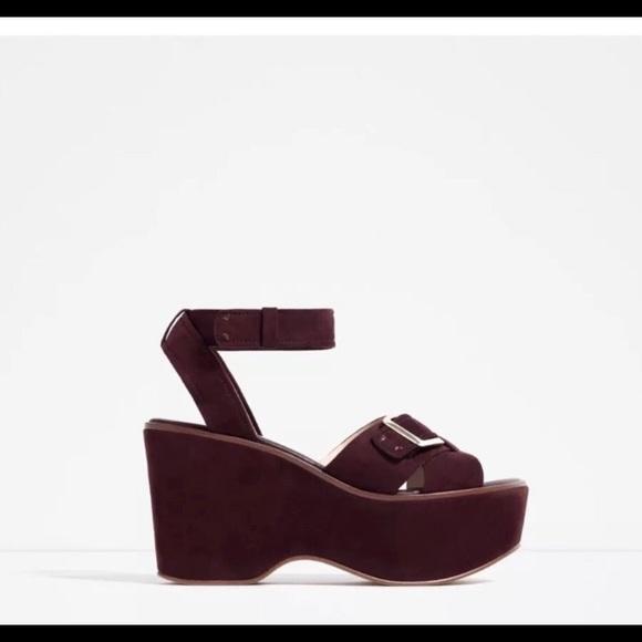 Platform Zara blown faux suede size 6.5